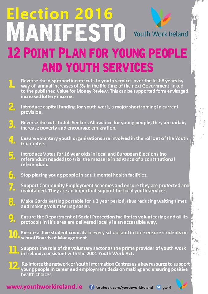 Youth Work Ireland Election 2016 Manifesto